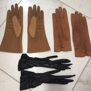 Vintage leather gloves 3 pairs tan brown black
